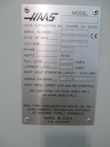 mic group online auction 1 haas vf 10 50 cnc 1 haas vf 10 50 cnc vertical machining center thumb ‹ ›