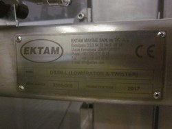 1 - Ektam Filler Line 1  Comprising of: Ektam DIDIM-L elevator twister (Lawerator and Twister)