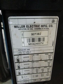 1 - Miller PipeWorx 400 Serial Number: MH424007B , Tig , Mig , Stick Capable, One Touch Process Change Over ,Miller