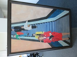 1 - Framed Painting of Shoppers on Escalator